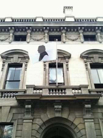 Silhouette flag outside the Garrick Club