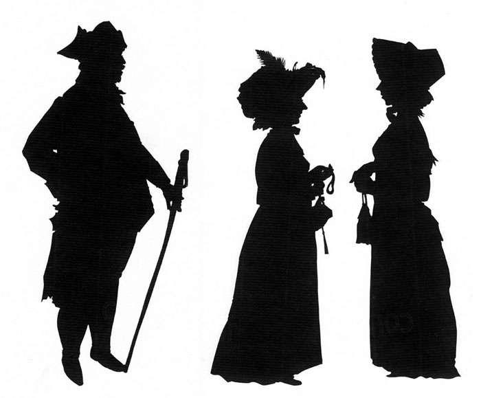 Full-length regency silhouettes