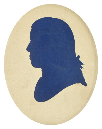 One of Sarah Harrington's blue-backed hollow-cut silhouettes