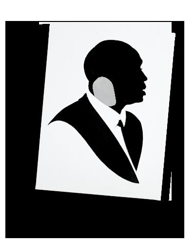 A hollow-cut silhouette
