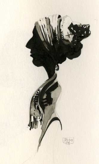 One of many painted silhouettes in the book