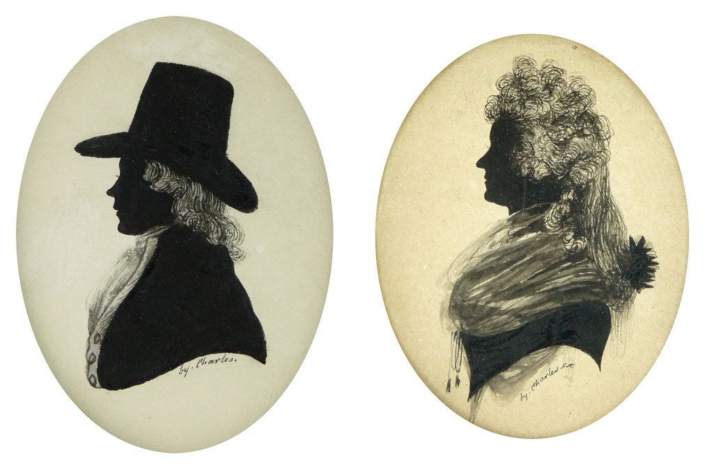 Two painted silhouettes by Mr Charles