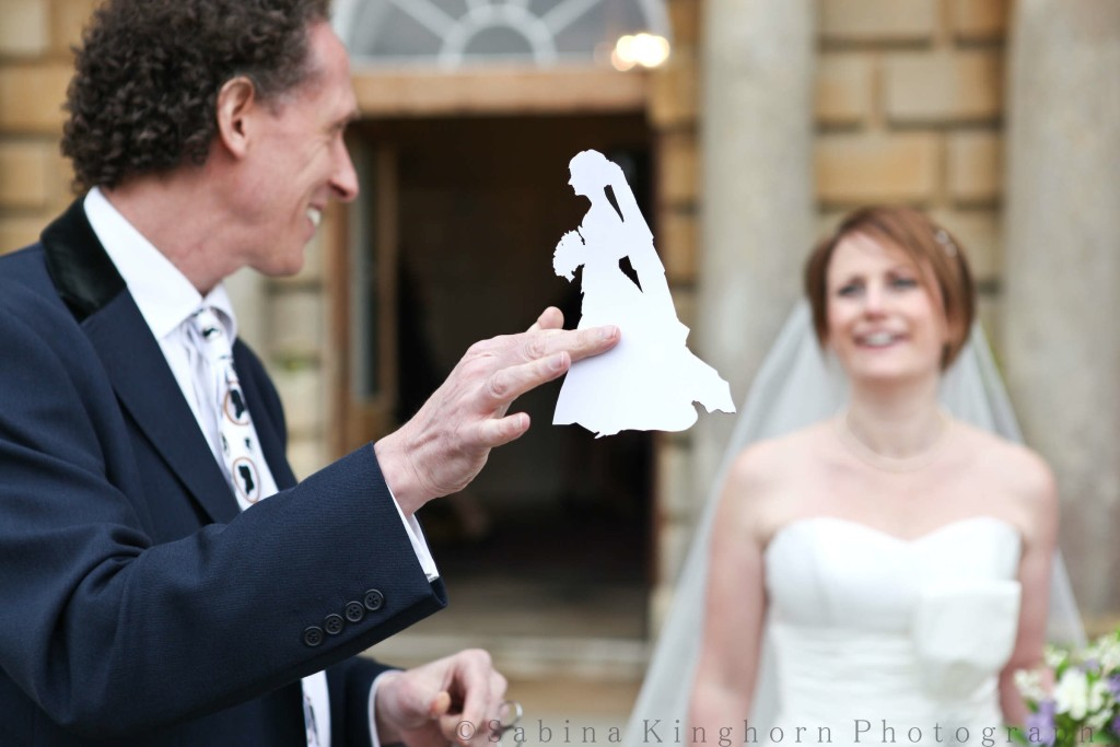 The bride's silhouette