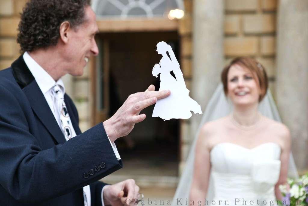 The bride's silhouette