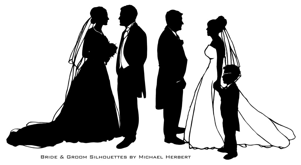 Bride & Groom silhouettes by Michael Herbert