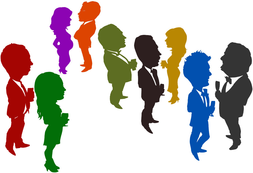 Caricature silhouettes in colour