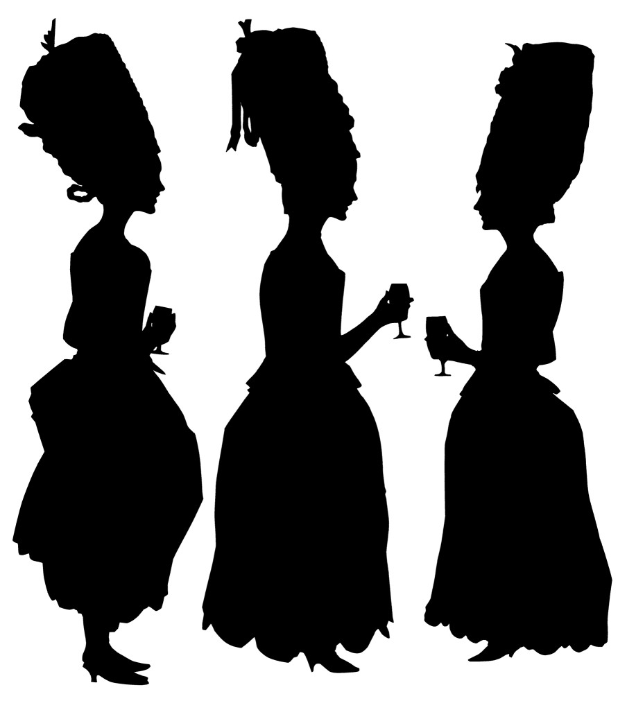 Three ladies with piled-up wigs