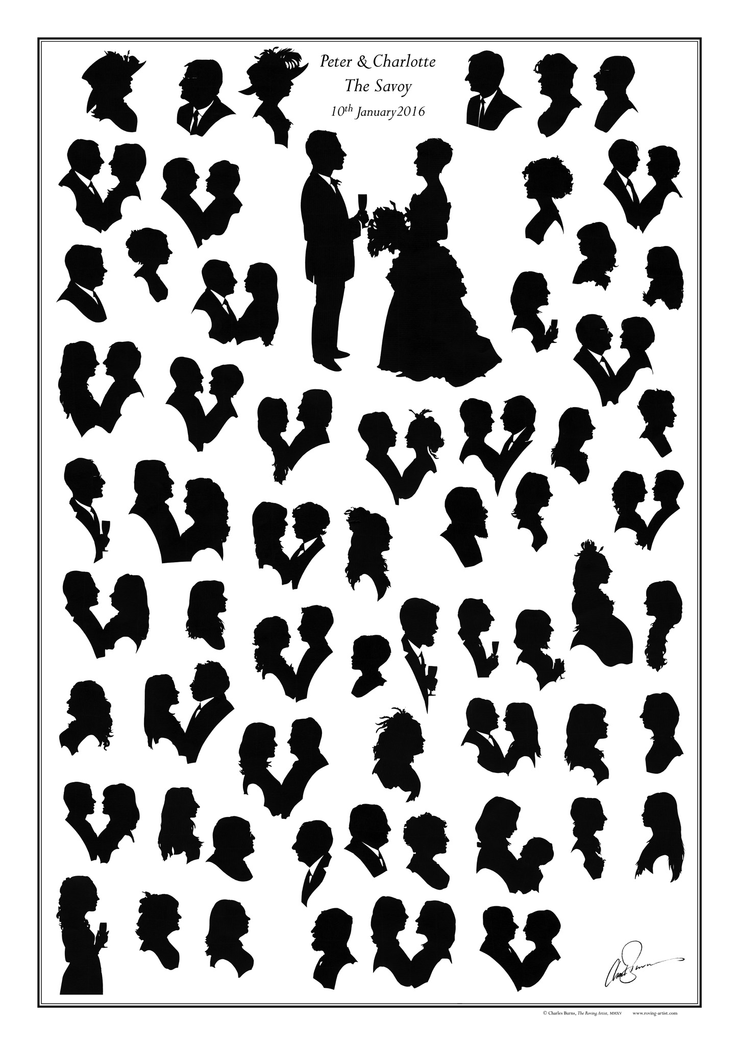 Wedding silhouettes entertaining wedding guests the roving artist peter and charlotte junglespirit Gallery