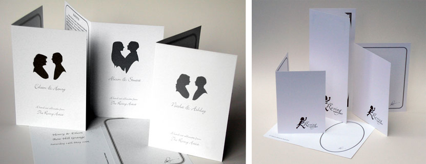 Branded and plain silhouette cards