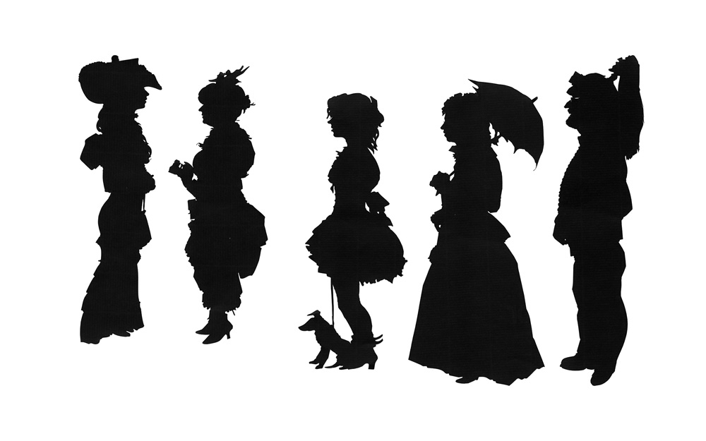 Five Whitby Goths in silhouette