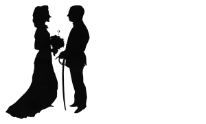 Bride and groom with sword and question mark