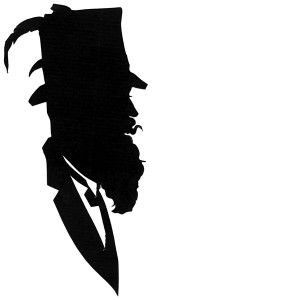 Man with beard and feathered top hat