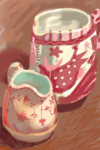 iPhone drawing of two pink and white  jugs