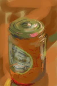iPhone drawing of a marmalade pot