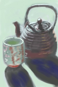 iPhone drawing of a japanese teapot