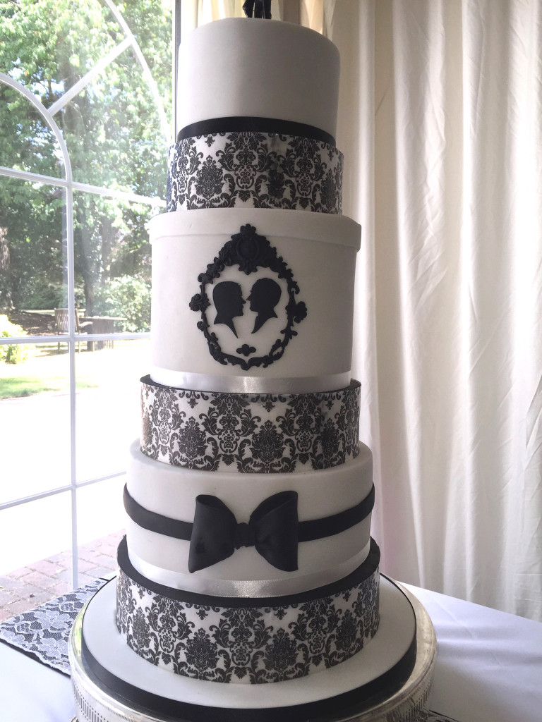 Black & white gay wedding cake silhouette