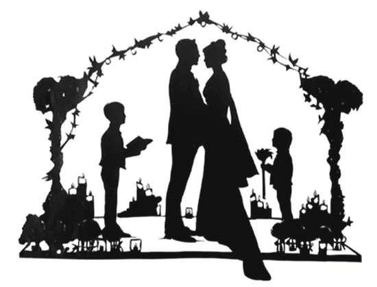 Wedding scene in silhouettes