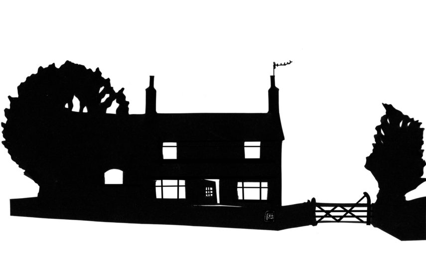 Mixed-media silhouettes of buildings