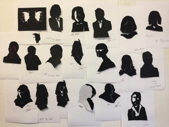A collection of not in profile silhouettes, cut at a Burns Night party