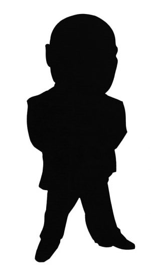 standing face-on silhouette caricature