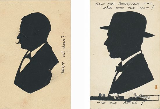 Two early postcard silhouettes with hand-written captions added by the subject