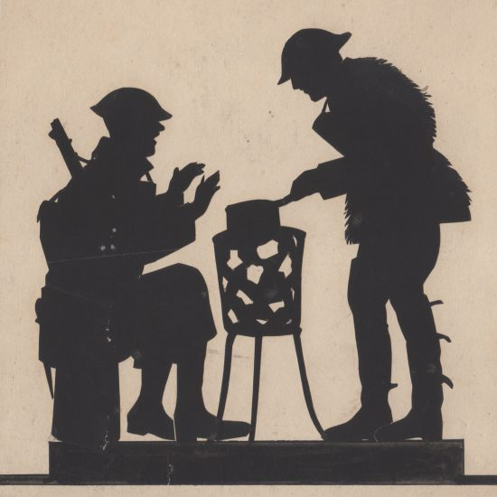 Soldiers cooking, by Harry Oakley