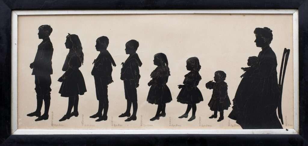Clara Swinburn with eight of her nine children