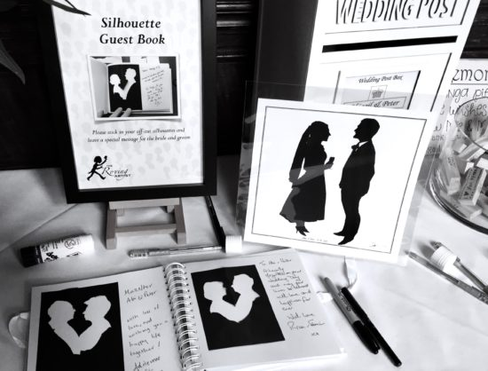 Silhouette off cuts in a wedding guest book, impromptu creative space
