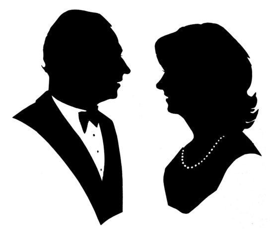 A Fifty Shades illustration: a pair of famous silhouettes cut at a black-tie dinner