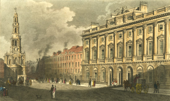 A print of Strand, London, near the site of Prosopgraphus around 1820