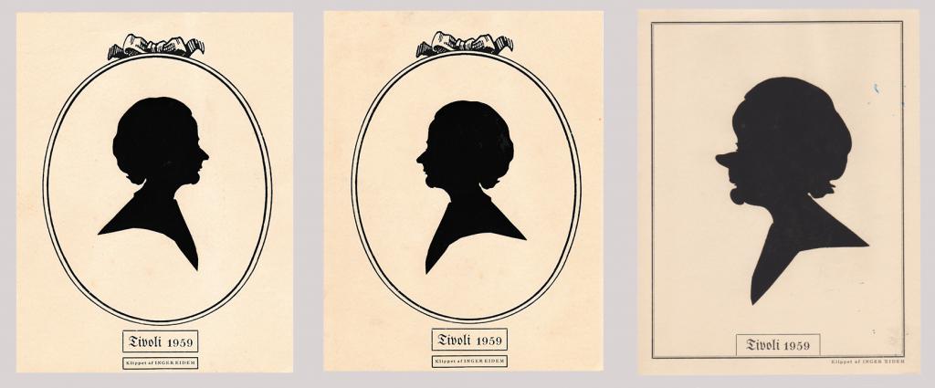 Set of silhouettes cut by Inger Eidem at Tivoli Gardens