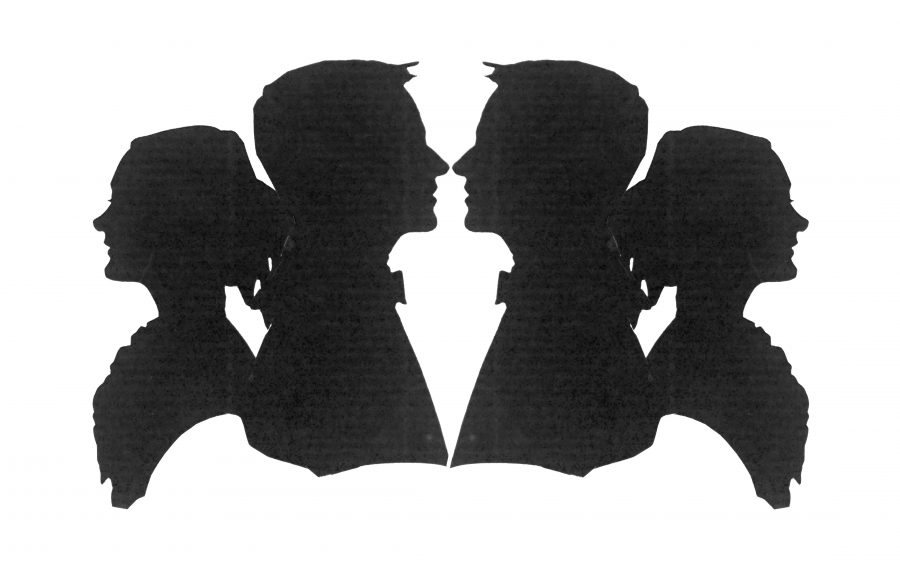 Four silhouettes in almost exact symmetry