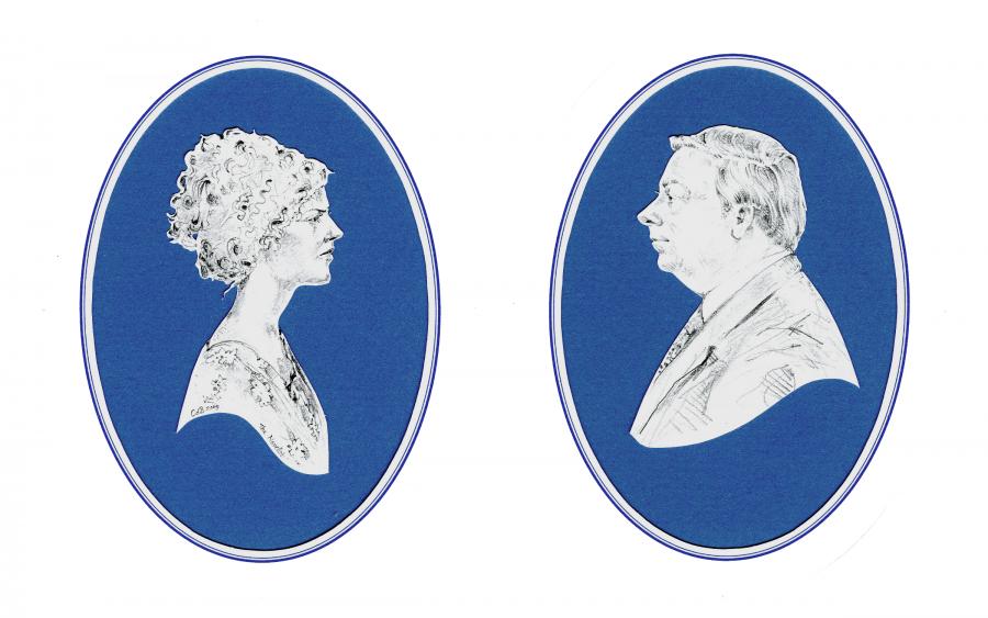 Two en grisaille portraits