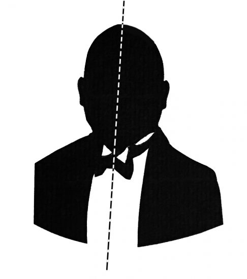 Face-on silhouette of a bald man with the axis of symmetry marked