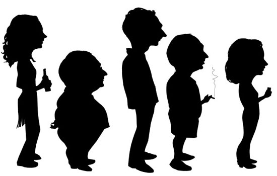 Five caricature likeness silhouettes