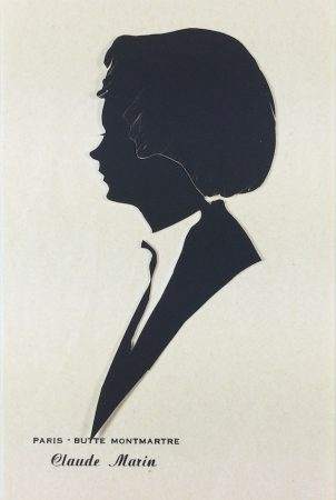 "Silhouette of a woman. Label reads ""Paris - Butte Montmartre, Claude Marin"""