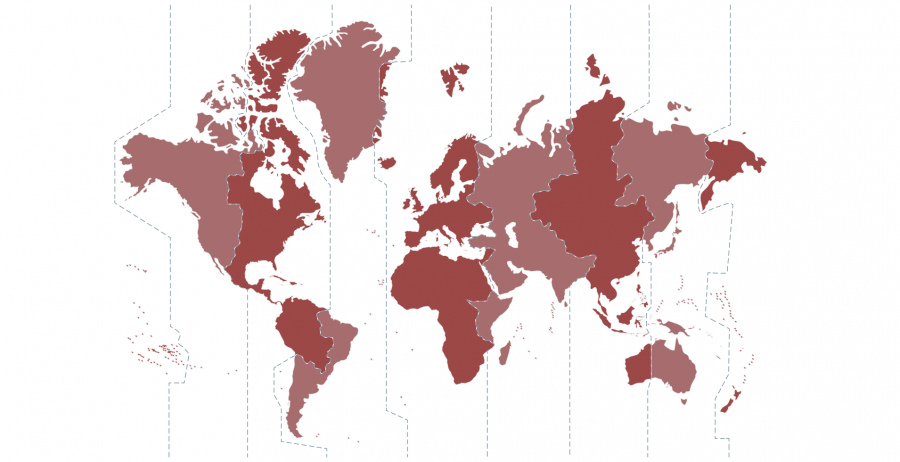 Map of the world divided into time zones