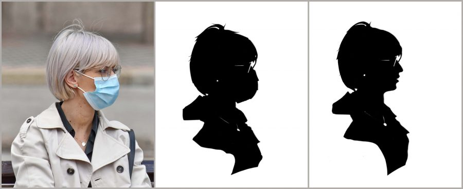 Two silhouettes of same woman, one with and one without mask