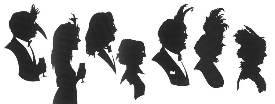 Seven silhouettes with feathers and various kind of mask