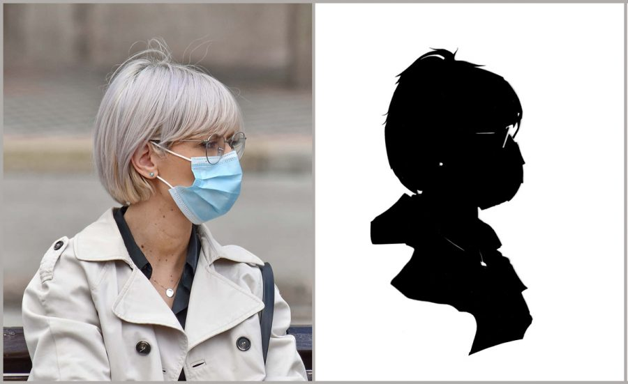 Woman with mask and her silhouette