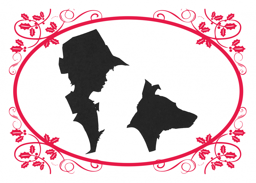 Silhouettes of of a boy with a hat and his dog inside a red holly oval border