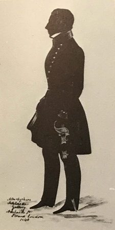 Adelaide gallery: silhouette of a naval officer holding a sword