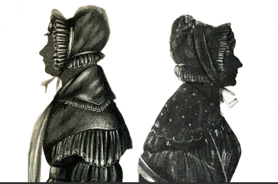 Two silhouette of women in bonnets by Edgar Adolphe