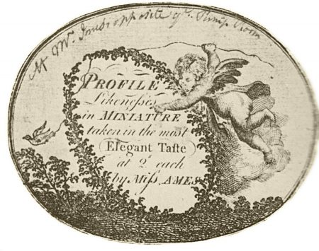 Label reads: Profile Likenesses in Miniature, taken in the most elegant taste, at 2s each, by Miss Ames