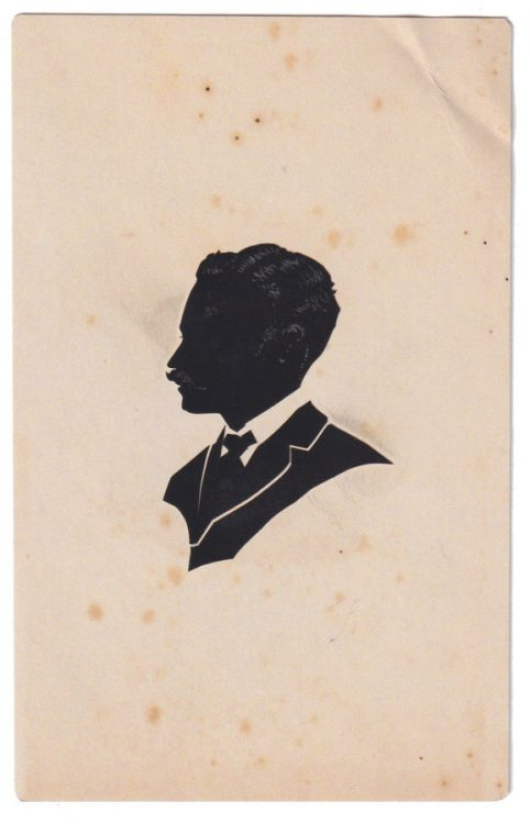 Silhouette of a man with moustache