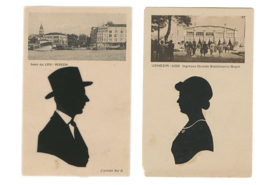 A pair of silhouettes mounted onto Life beach postcards by Baj B