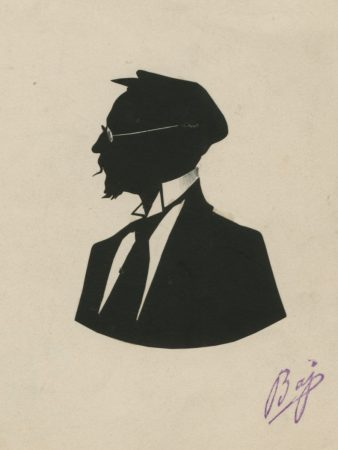 Silhouette of a man with moustache, spectacles and cap facing left/