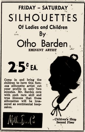 Silhouettes of Ladies and Children by Otho Barden, Eminent Artist