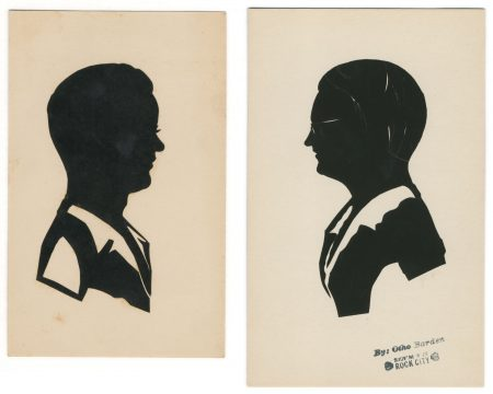 Two silhouettes by Otho Barden, one with the Rock City stamp