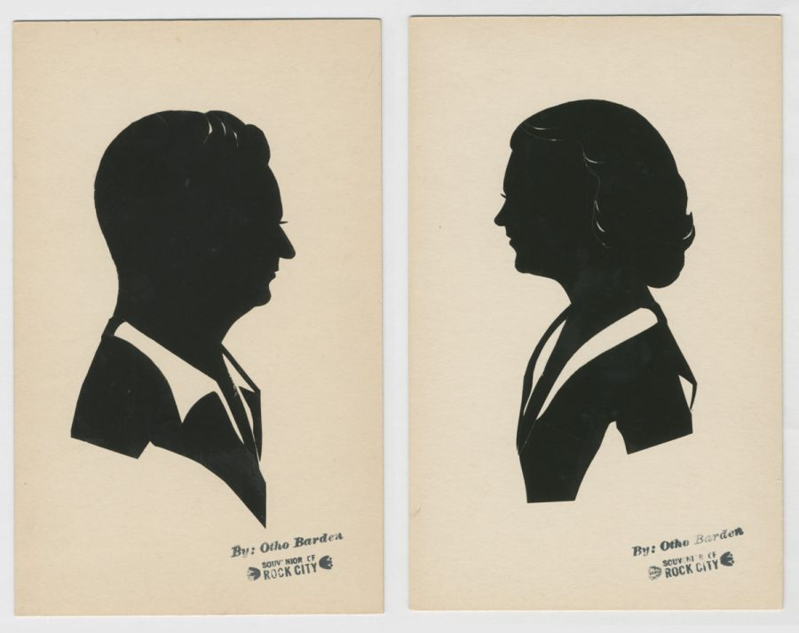 """Silhouettes of a couple with Otho Barden's stamp saying """"Souvenir of Rock City"""""""